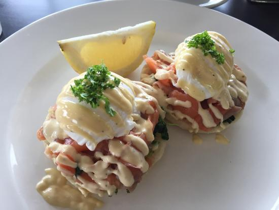 Yummy Egg Benedict with smoked salmon. Really impressed about the ...