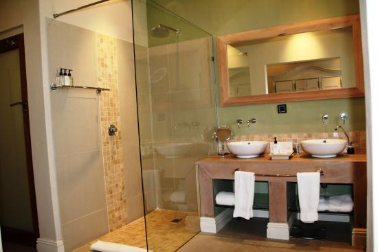 Sugar Hotel & Spa: Room 5 - dual sink, glass shower (private toilet to the left of shower)