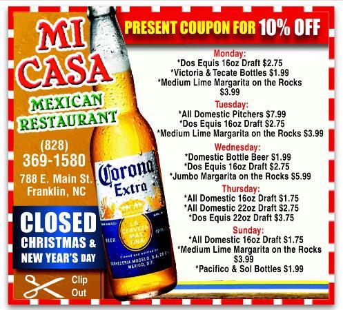 แฟรงกลิน, นอร์ทแคโรไลนา: Mi Casa Daily specials