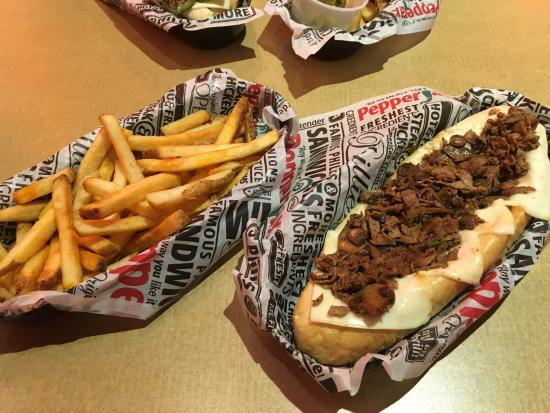 Pepperjax Grill: Steak Philly Sandwich with Fries
