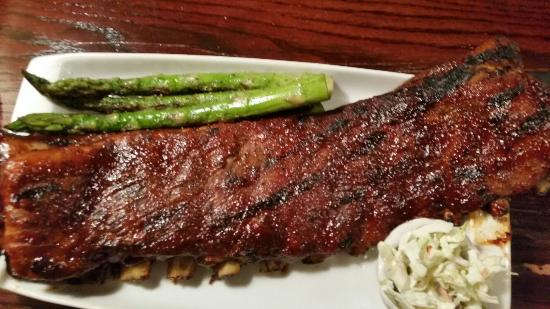 Sheridan, WY: Rack of bbq ribs..asparagus and coleslaw..