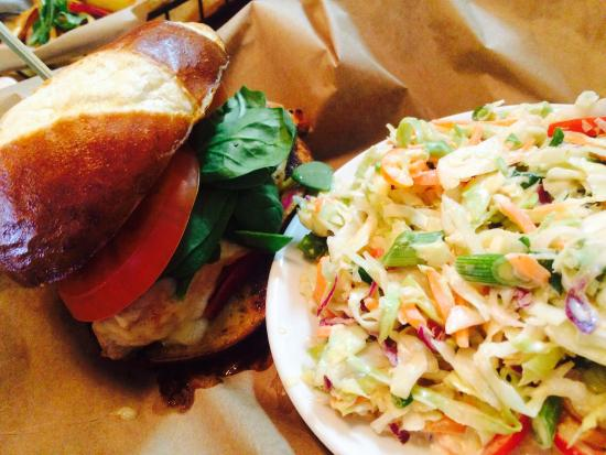 Hart, MI: Lamb sliders/chicken breast with havarti and balsamic reduction and a side of Sriracha coleslaw/