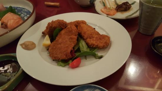 Katsuno: Pork tenderloin cutlets deep fried with panki crumbs- heck it's like Japanese Shake n Bake!!!