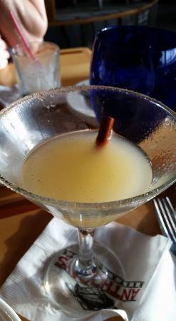 Des Moines, WA: Roasted Pear Martini: Pear flavored vodka with pureed pear, rim has cinnamon and sugar.