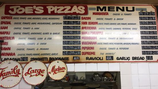 Gosford, Australia: Joe's Pizzas Menu