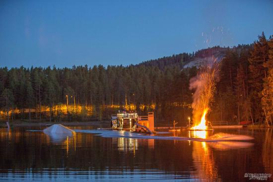 Vuokatti, Finland: Wakepark during midsummer night
