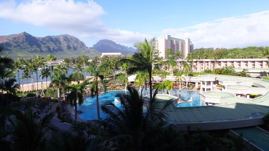 Marriott's Kaua'i Beach Club: This is the view from a partial ocean view room! It's worth the splurge.