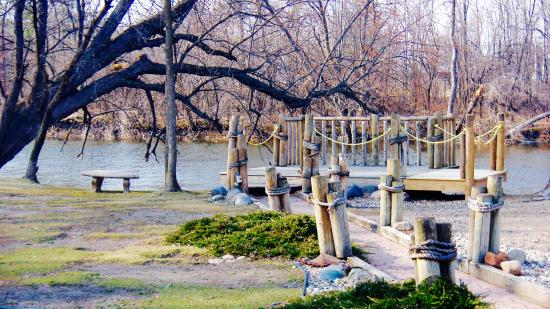 Waite Park, MN: River walk and deck from dining room window