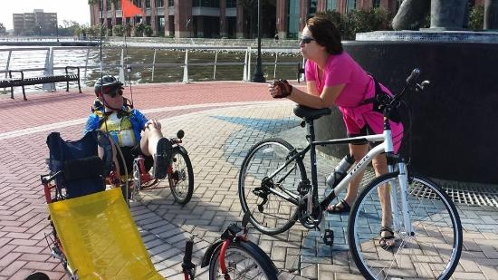 E2ride Bike Tours: Our guide Leigh explains the history of Jacksonville Landing.
