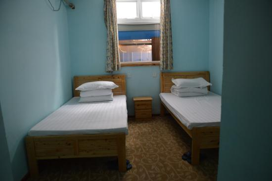 Mr.Panda Youth Hostel: No view, double room, looks nice at the pic, bath and mushroom on the wall ruin this place