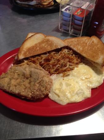 Memphis, TX: Eggs with chicken fried steak and hash browns.