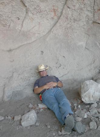 Gila, NM: Hiking ofter needs a nap in an Indian cave.