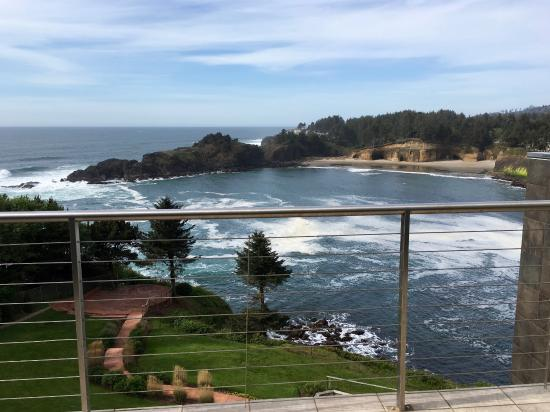 Depoe Bay, Oregón: View from deck of Whale Cove Inn, Room 302.
