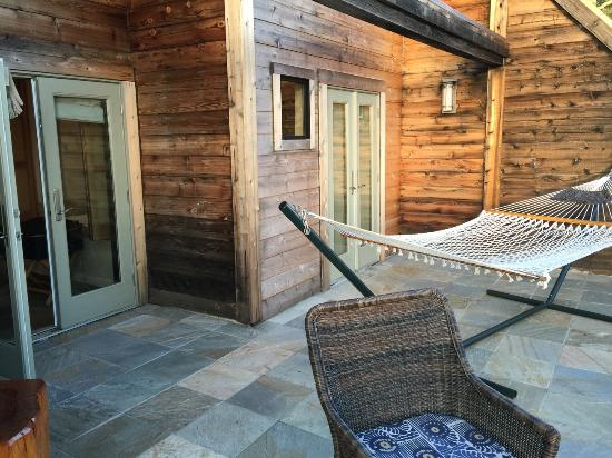 Ventana Inn & Spa: The deck with chairs and hammock.