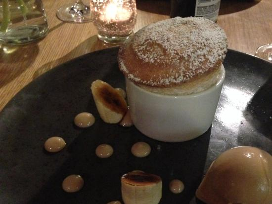 Ferrensby, UK: Banana Soufflé with Salted Caramel Ice-Cream