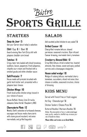 The Bistro at Charlevoix Country Club: Sports Grille Menu Page 1