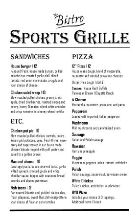 The Bistro at Charlevoix Country Club: Sports Grille Menu Page 2