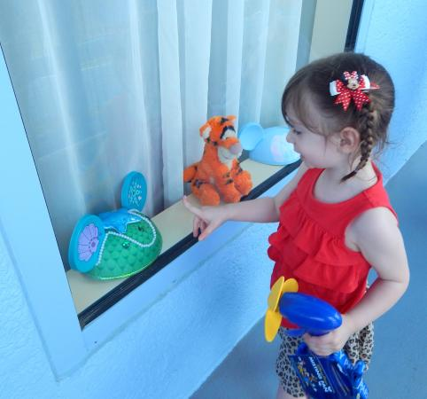 Disney's Art of Animation Resort: The maid arranged some of our souvenirs in the window for when we returned, kids loved it!