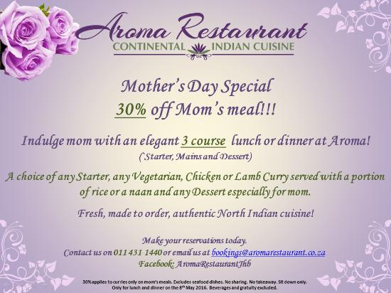 Mothers Day 8 May 2016 Special Offer For Mom Picture Of Aroma