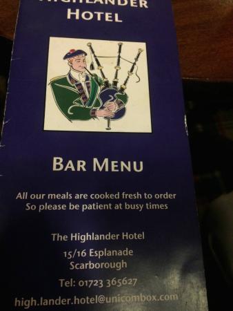 Highlander Hotel: Bar Menu