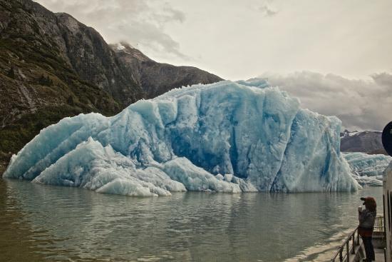 On Adventure Bound circling iceberg near Sawyer Glacier, Tracy Arm Fjord.