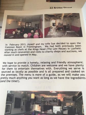 The Common Room Cafe/Restaurant: Menu