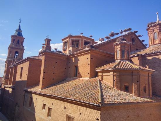 Alfaro, Spagna: Desde el mirador. Cigüeñas sobre la Colegiata.