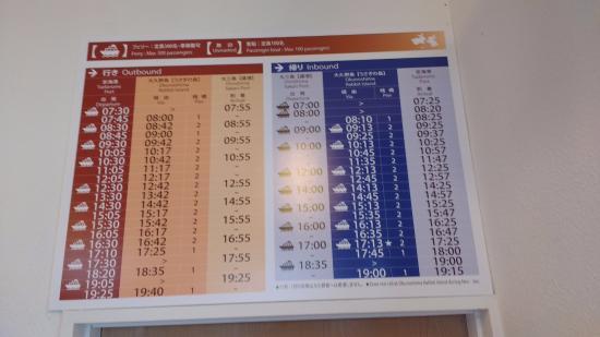 Takehara, Japan: Ferry timetable (as at April 2016)