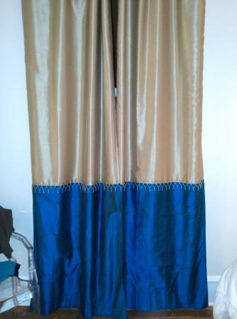 McCammon, ID: Drapes over very high old window.