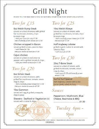 Amlwch, UK: Tuesday Night is Grill Night! Full menu also available.