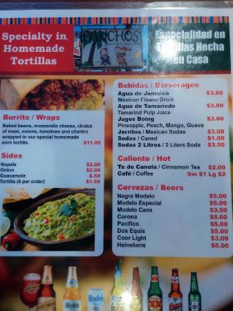 Pancho's Mexican Taqueria: Menu