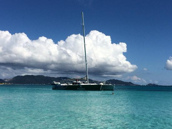 Simpson Bay, St Martin / St Maarten: The boat anchored at Rendezvous