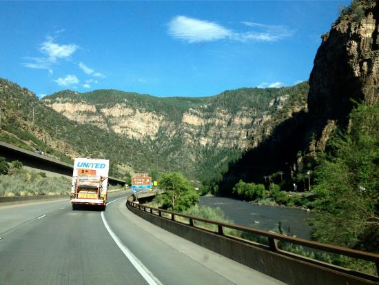 Glenwood Canyon: Heading east-bound along the Colorado River, just before the Grizzly Creek rest area.