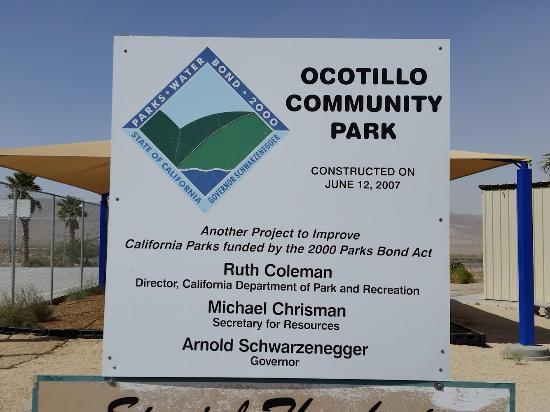 Ocotillo, Kalifornien: Park Entry sign