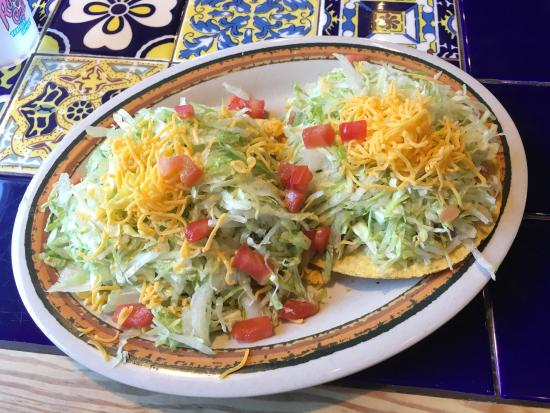 Lake Worth, TX: Tostada Tuesday! I got Guacamole (comes with beans). $5.29.  It's a lot of food! Super festive,