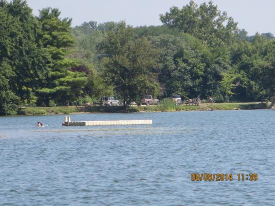Kendallville, IN: West side swimming area with float for diving