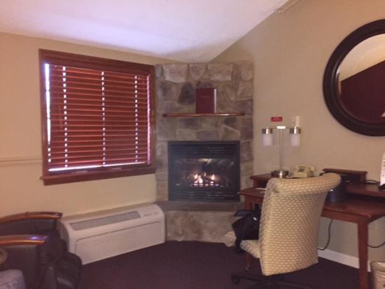 Fireside Inn & Suites: Fireplace in King (premium) suite