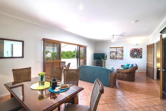 Accommodation Rimini by the River-Noosa: The open plan living area of a two-bedroom apartment
