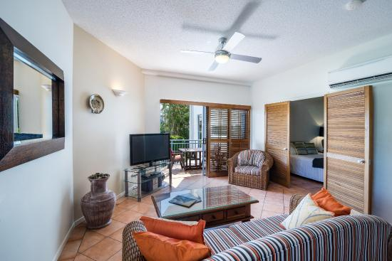 Accommodation Rimini by the River-Noosa: The living area in one of our holiday queen apartments (number 7)
