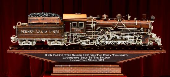 Dover, OH: 1 of many carved working trains on display.