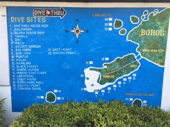 Dive Thru Scuba Resort - Bohol: Dive site map