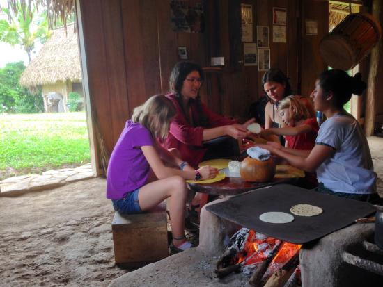 Living Maya Experience: Learning how to make tortillas with the Cal family.