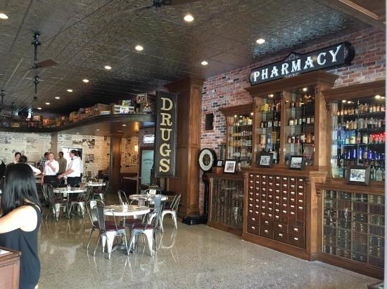 Old pharmacy cabinet picture of watson drug store and for Old fashioned pharmacy soda fountain