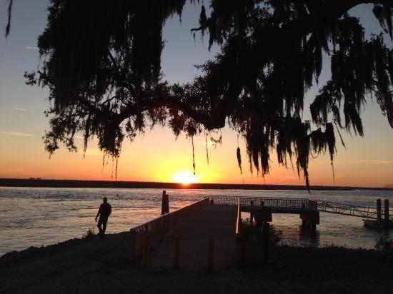 Daufuskie Island, SC: Sunset in front of Marshside Mama's