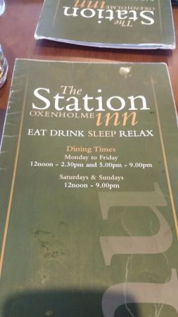 The Station Inn: menu'