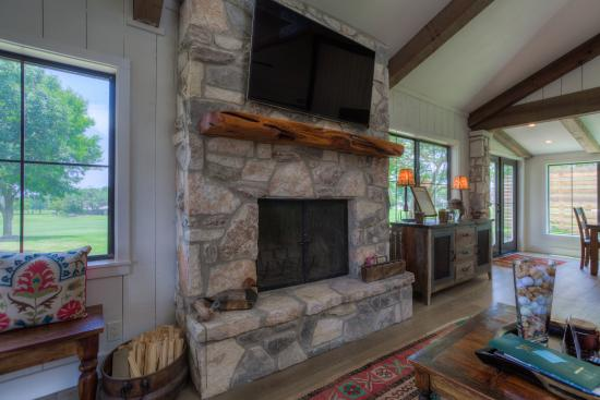 hill country stone fireplace in common room picture of riverhill rh tripadvisor com