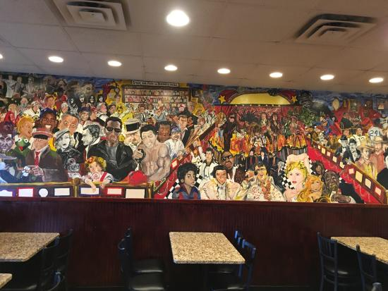 Randolph, MA: Mural on the wall and the bar.