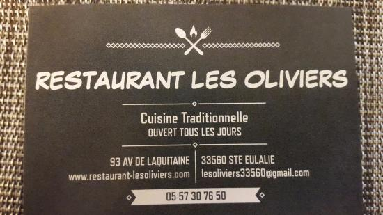 Restaurant Les Oliviers Carte De Visite Du