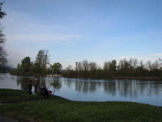Independence, OR: People fishing from park with ferry downstream in background.