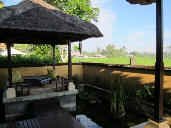 Mandala Desa : Floating dining pavilion is raised for uniterrupted views of the rice paddies